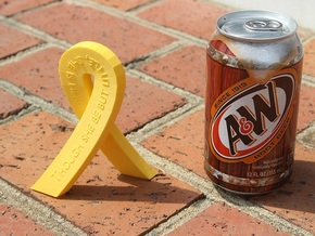 Standing Cancer Ribbon - She Is Fierce in Yellow Strong & Flexible Polished