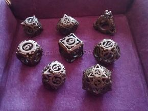 Steampunk Gear Dice Set in Matte Bronze Steel