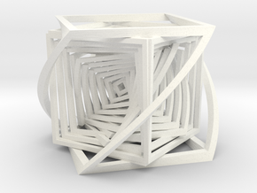 The Bend Cube.  in White Strong & Flexible Polished