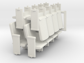 Four set of HO Scale theater seats in White Strong & Flexible