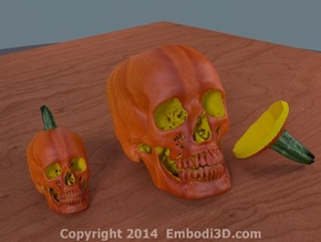 Jack-o'-lantern skull from CT scan, full size in Full Color Sandstone