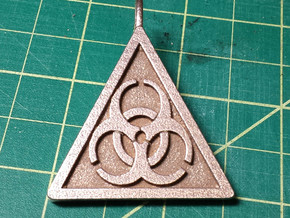 Bio-hazard Pendant in Matte Bronze Steel
