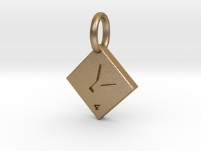 SCRABBLE TILE PENDANT Y  in Polished Gold Steel