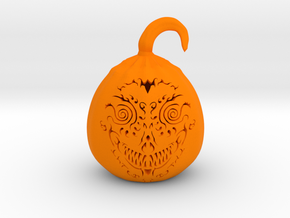 Pumpkin Skull 1 in Orange Strong & Flexible Polished