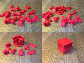 "21 Piece ""Tetris Cube"" Puzzle (+decorative box) in Red Strong & Flexible Polished"