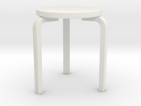 1:24 Aalto Stool in White Strong & Flexible