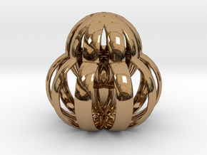 Caged Protea in Polished Brass