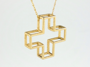 Wireframe Plus Pendant in Polished Gold Steel