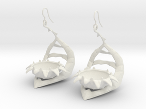 Carnivorous plant earring Planter in White Strong & Flexible