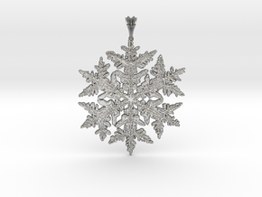 Frozen Snowflake Crystal Pendant in Raw Silver