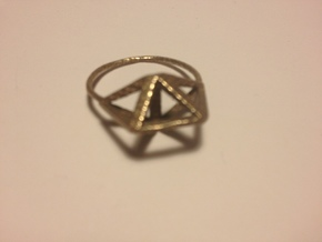 Amplituhedron Ring  in Matte Gold Steel