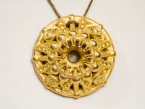 Mandala Pendant in Polished Gold Steel