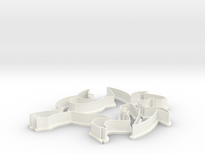 Garchomp Cookie Cutter in White Strong & Flexible Polished