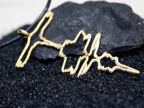 "German ""I Love You"" Sound Wave Necklace  in Polished Brass"