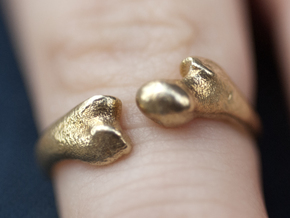 Human Femur Ring  in Raw Brass