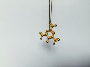 TNT Molecule Keychain Necklace in Polished Gold Steel