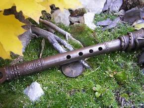 3D Printed Shakuhachi Dragon Flute in Polished Bronze Steel