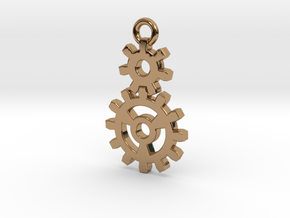 2 Gear Steampunk Pendant in Polished Brass