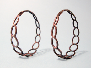 Curvy Wire 1 Hoop Earrings 50mm in Polished Grey Steel