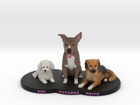Custom Dog Figurine - Multiple Pets in Full Color Sandstone