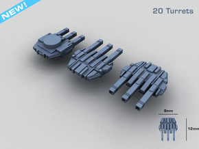 20 Starship triple turrets – MECHWORLD HOMEFLEET in Frosted Ultra Detail