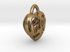 Key Hole Heart in Polished Gold Steel