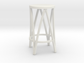 Miniature 1:24 Metal Stool in White Strong & Flexible