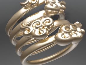 Four Clouds - size 6 - in Matte Gold Steel