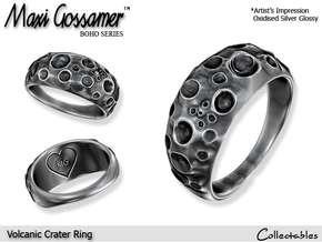 Volcanic Crater Ring in Polished Silver