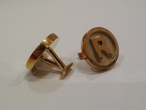 Registered Trademark Logo Cuff Links in Polished Brass
