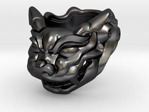 "Fu Dog (Komainu) ""a"" Ring in Polished Grey Steel"