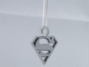 Superman Pendant in Polished Metallic Plastic