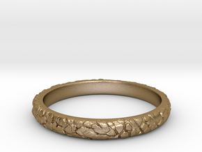 Rock ring(size = USA 5.5) in Polished Gold Steel