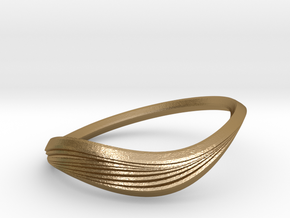 Simplified V Day Ring in Polished Gold Steel