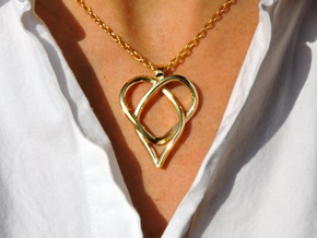 Trefoil Knot Heart Pendant in Polished Brass