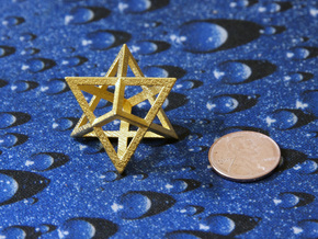 Double Tetrahedron, Merkabah in Polished Gold Steel
