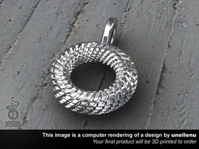 Mens Pendant / Keyring tag: Tyre  3cm in Polished Silver