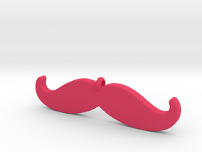 Mustache Pendant (2.2 cm - 0.9 in) in Pink Strong & Flexible Polished