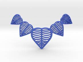 Leafy heart pendant / Necklace in Blue Strong & Flexible Polished