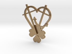 Faith, Hope, Love, Luck in Polished Gold Steel