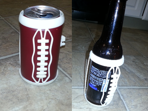 Football Laces Koozie in White Strong & Flexible Polished