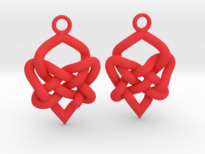Celtic Heart Knot Earring in Red Strong & Flexible Polished
