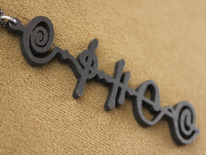"""Kaiidth"" (What Is, Is) Vulcan Script Pendant in Matte Black Steel"