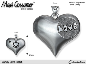 Candy Love Heart Pendant in Polished Silver