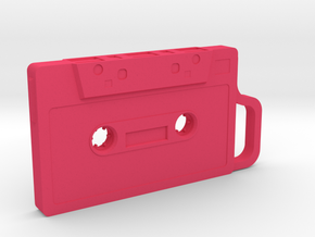 Cassette shape Keyring Key fob (Small) in Pink Strong & Flexible Polished
