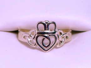 Trinity Knot Claddagh Ring Size 7.5 in Polished Silver