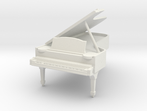 1:48 Concert Grand Piano - Open Lid in White Strong & Flexible