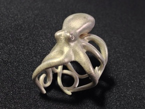 Octopus Ring 18mm in Raw Silver
