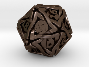 'Twined' Dice D20 Spindown Life Counter Die 24mm in Polished Bronze Steel