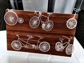 Five Bikes: Wire Wall Art in White Strong & Flexible